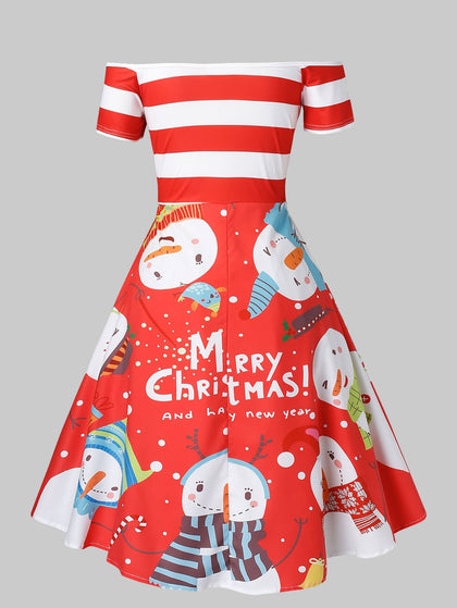 Plus Size Off Shoulder Snowman Print Christmas Dress