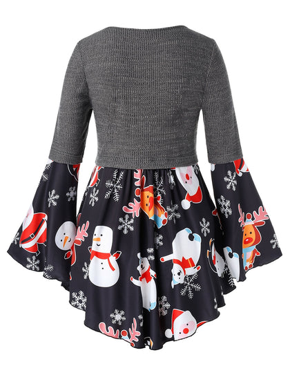 Plus Size Criss Cross Snowman Elk Print Christmas Top