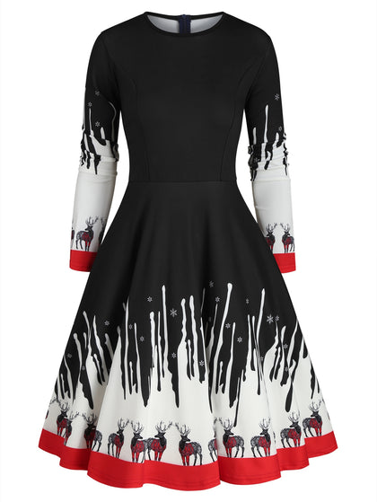 Reindeer Snowflake Christmas Long Sleeves Dress