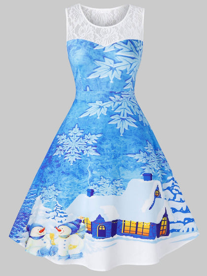 Plus Size Vintage Snowflake House Print Christmas Dress