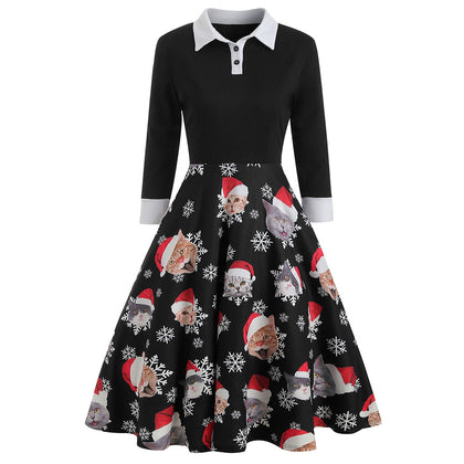 Christmas Shirt Collar Style Dress
