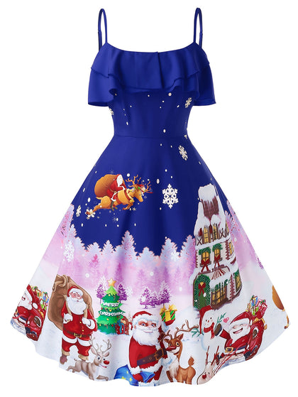 ROSEGAL Plus Size Christmas Vintage Printed Party Dress