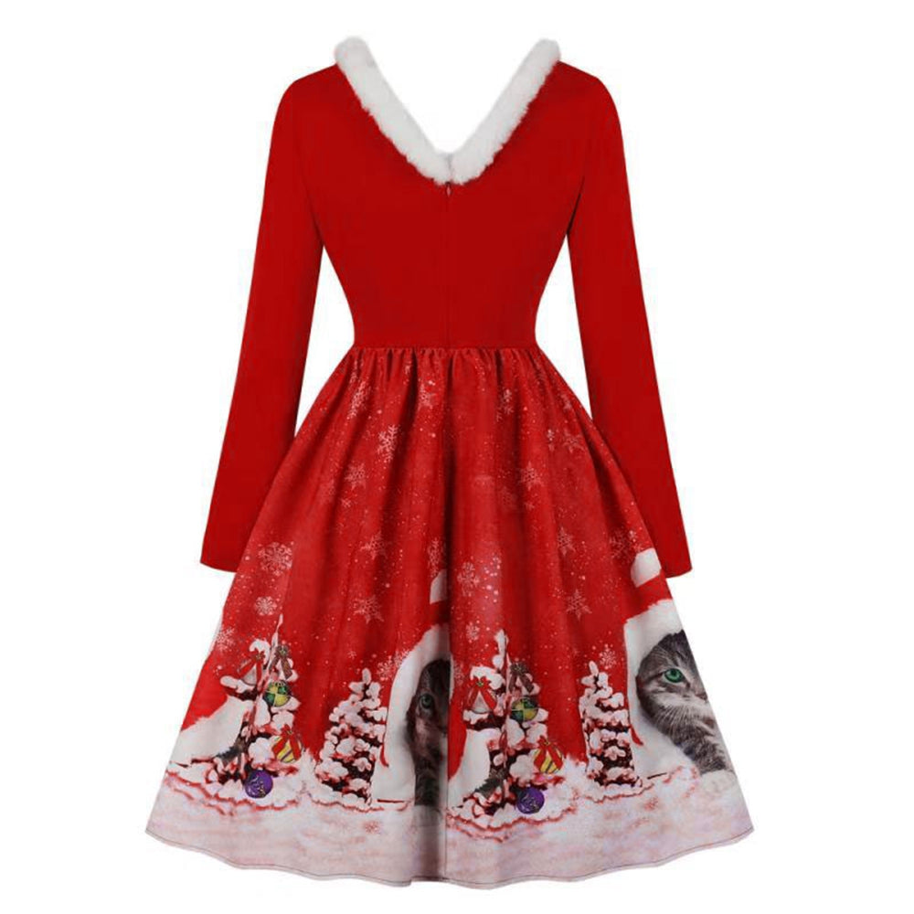 V-neck Christmas Print Vintage Dress for Women