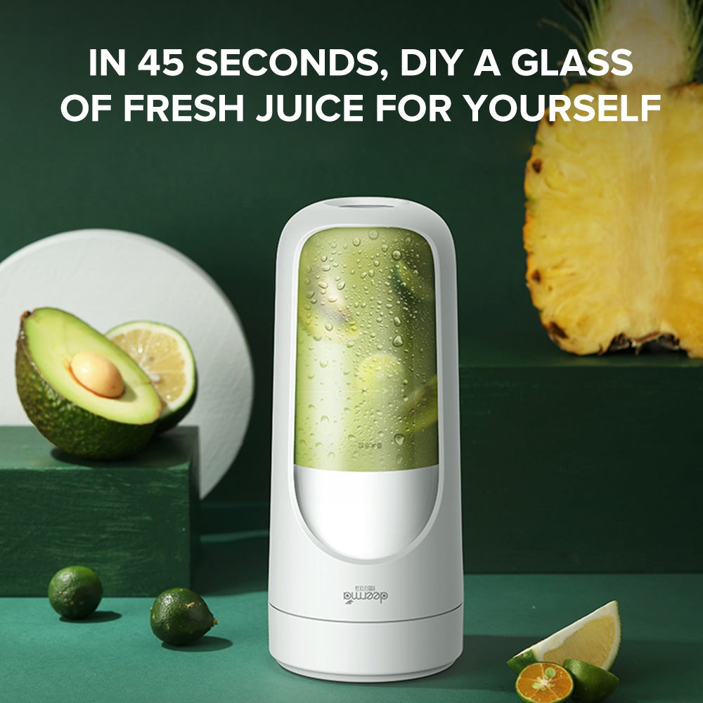 Deerma DEM - NU30 Portable Fruit Juicer USB Rechargeable Mini Wireless DIY Milkshake Vegetable Blender 300ml Water Cup