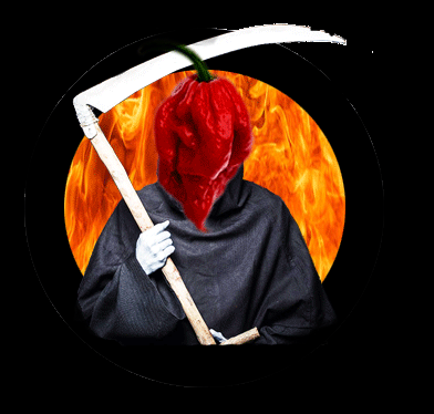 A comedy picture of the grim reaper with a Carolina Reaper hot chilli pepper as its head