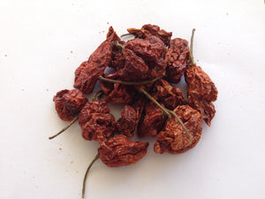 A pile of the capsicum-filled Carolina Reaper chillies