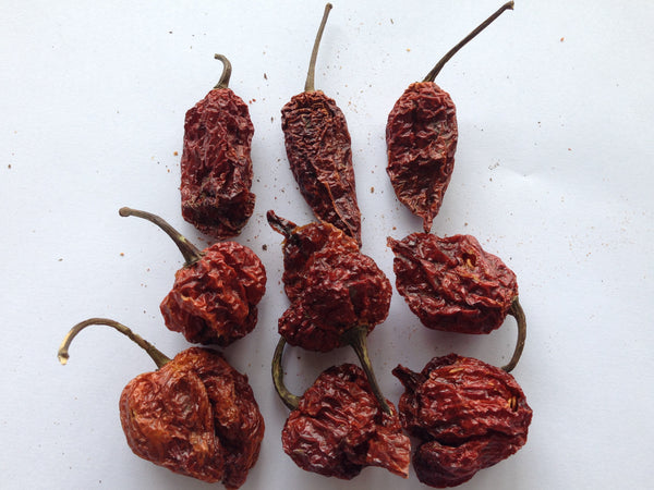 Three Carolina Reapers, three Trinidad Scorpions and three Naga Ghost Chillies, all of which go into the Mixed Chilli Bag