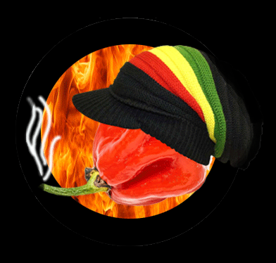 A comedy picture of a Trinidad Scorpion chilli with a Jamaican Rasta cap on and smoke coming out of its stalk.