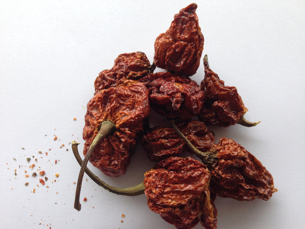 A pile of the scorchingly hot Trinidad Scorpion Chillies