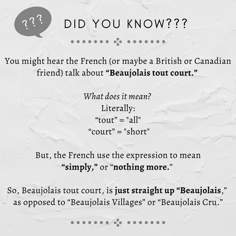"""Did you know? You might hear the French (or maybe a British or Canadian friend) talk about """"Beaujolais tout court."""" What does it mean? Literally, """"tout"""" and """"court"""" mean """"all"""" and """"short,"""" but the French use the expression to mean """"simply,"""" or """"nothing more.""""  So Beaujolais tout court, is just straight up """"Beaujolais,"""" as opposed to """"Beaujolais Villages"""" or """"Beaujolais Cru."""""""