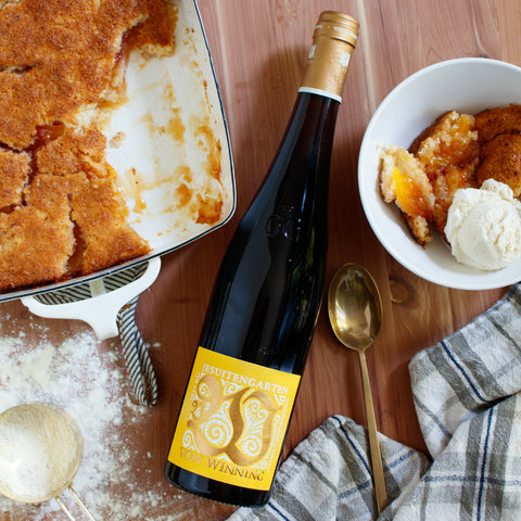 Von Winning Riesling Wine Food Pairing Peach Cobbler