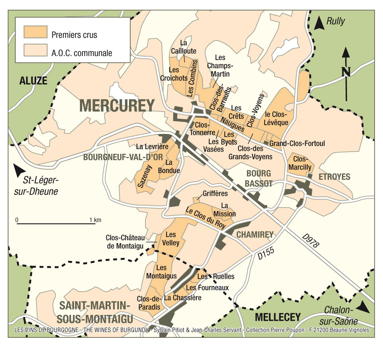 Map of Mercurey Wine Region, Burgundy