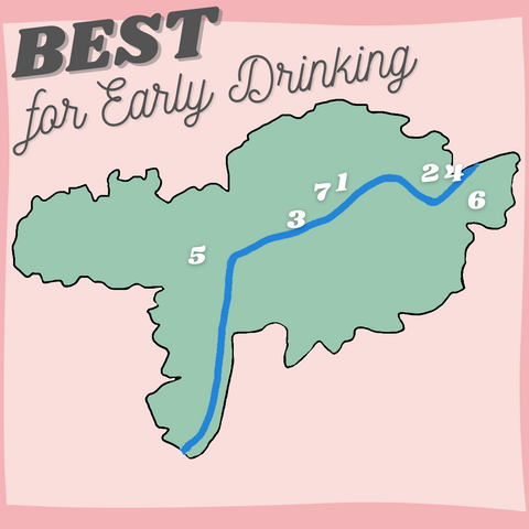 Best for Early Drinking Vineyards Map