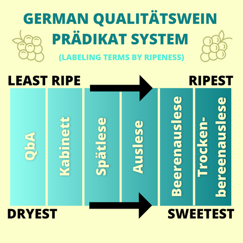 German Qualitatswein Pradikat system ripeness spectrum graphic explained german wine