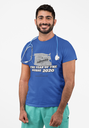 "Limited Edition T-Shirt YEAR OF THE NURSE 2020 ""I Survived"" blue"