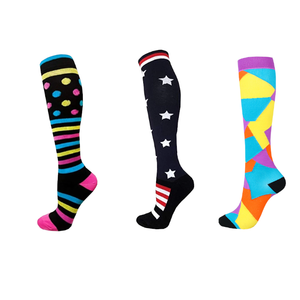 Nurse Compression Socks Knee High Dots & Stripes Yello, Pink, Blue 20-30 mmHg medical grade
