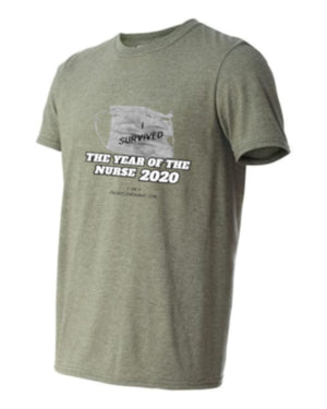 "Limited Edition T-Shirt YEAR OF THE NURSE 2020 ""I Survived"" military green"