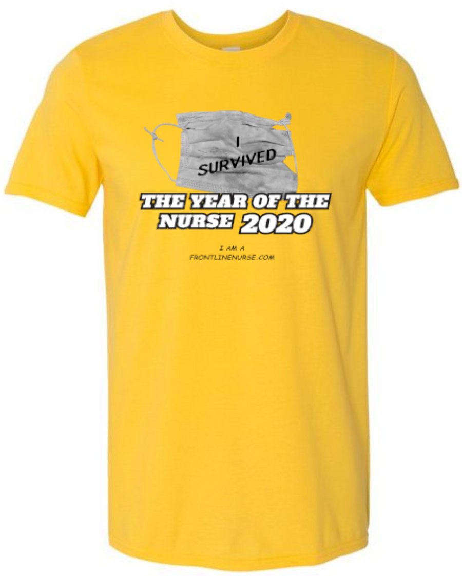 "Year Of The Nurse 2020  ""I Survived"" Daisy Yellow Frontline Nurse Florence Nightingale"