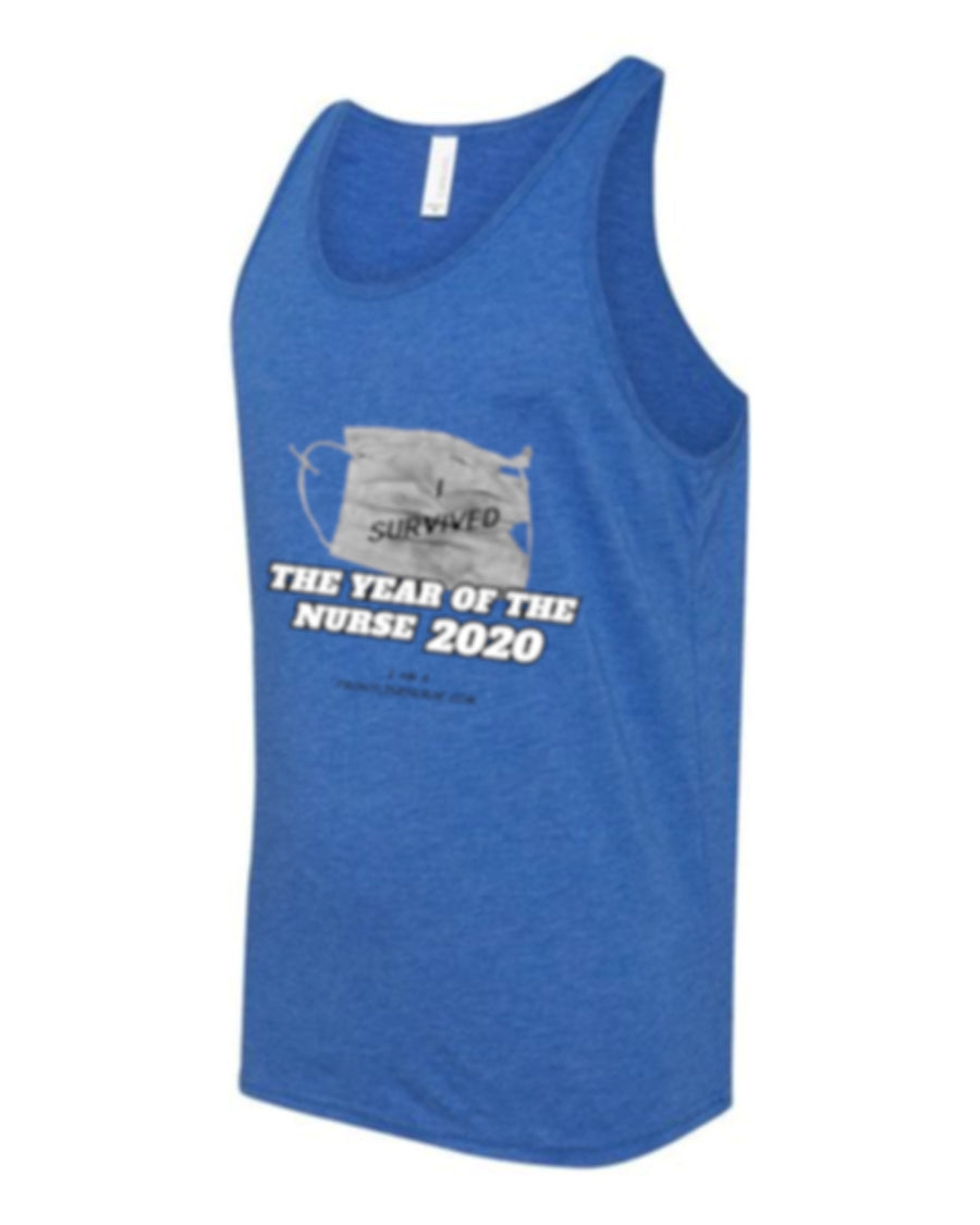 "Tank Top Year Of The Nurse 2020 Bella+Canvas ""I Survived"" Royal Blue Triblend"