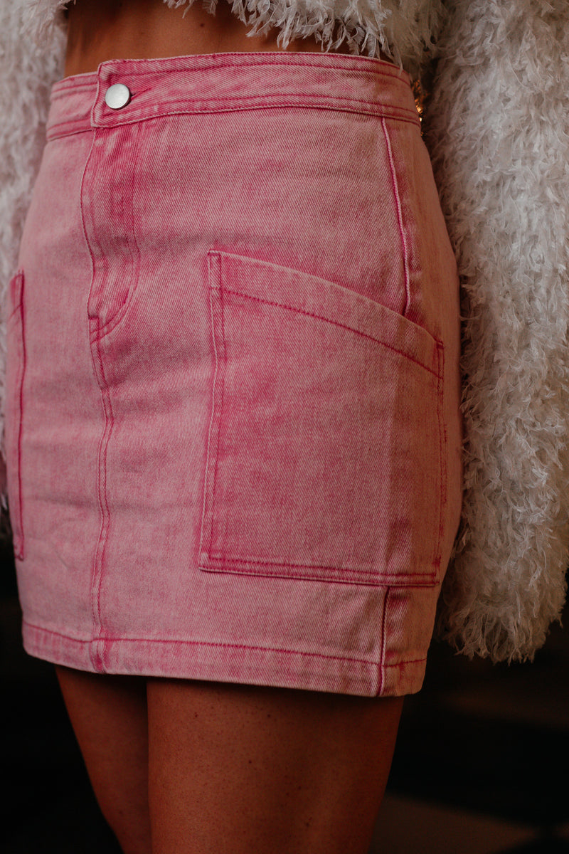 PINK STARBURST MINI SKIRT