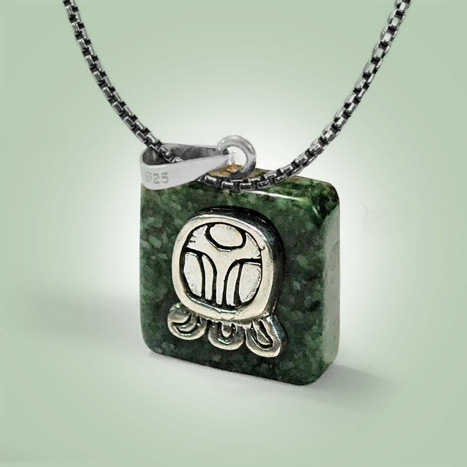Mayan Glyph Necklace - Jade Maya