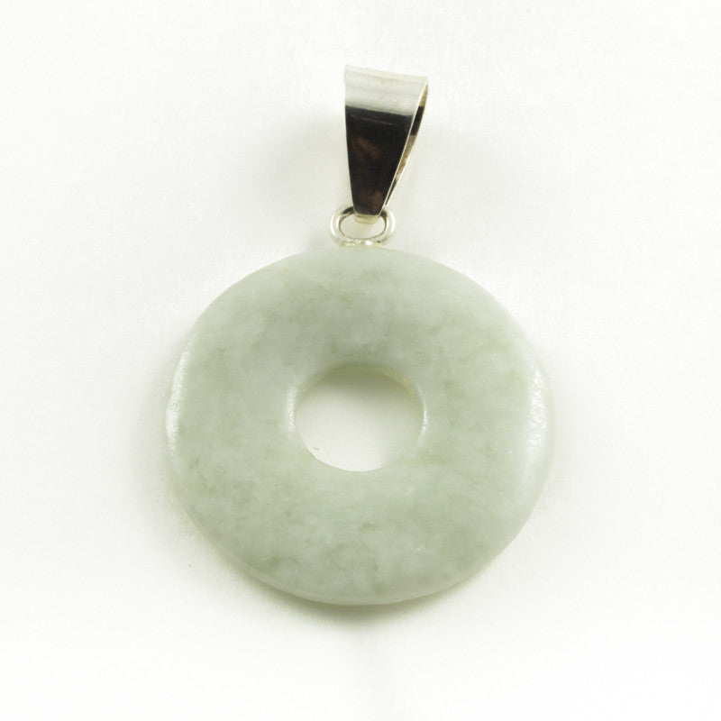 Light Green Jade Circle Pendant w/ Silver Bail