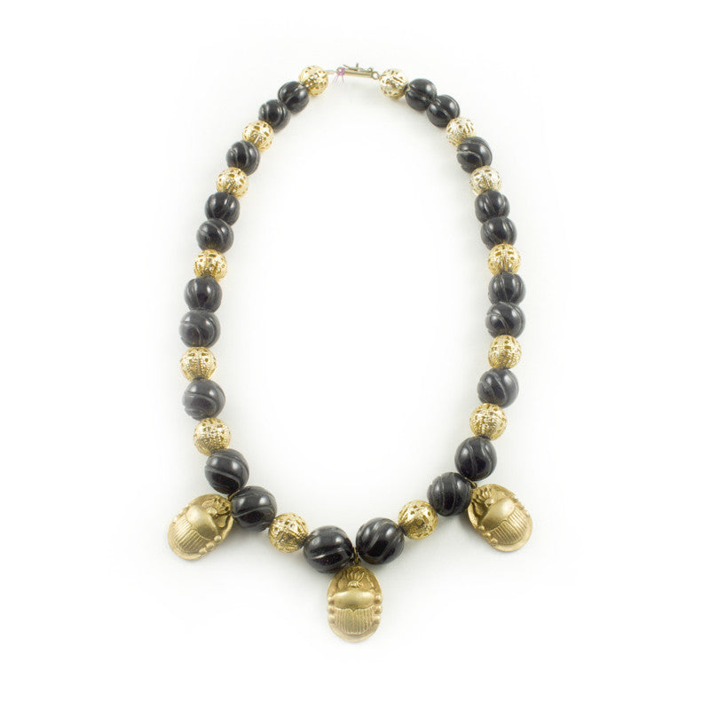 Scarab Necklace in Vermeil and Black Jade