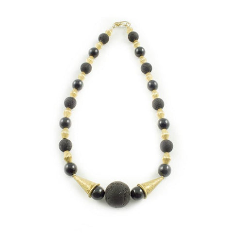 Black Jade Necklace with lava beads and vermeil beads