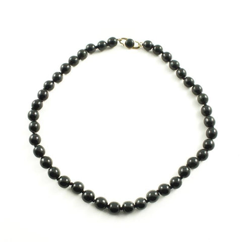 Black Jade Necklace w/14k Gold Hook Clasp