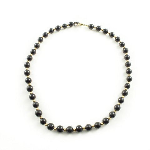 Black Jade Bead Necklace with Goldfilled Beads