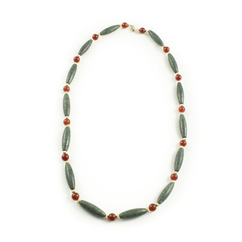 Melon Bead Necklace with Goldfilled and Carnelian