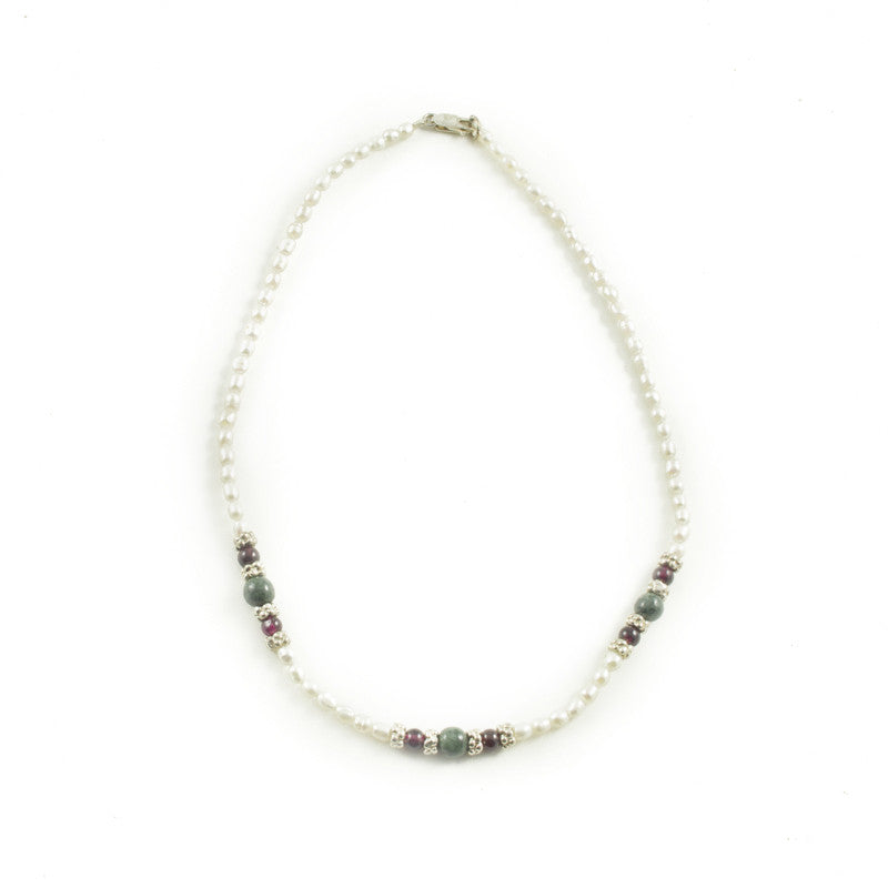 Pearl Necklace with Dark Green Jade and Garnet