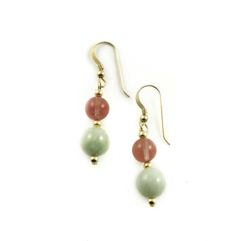 Light Green Jade  and Cherry Quartz Drop Earrings in Goldfilled
