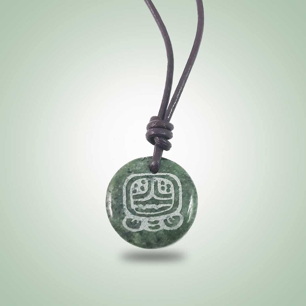 Aq'ab'al Leather Necklace (32mm) - Jade Maya