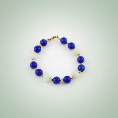Bracelet of white Jade and Lapiz Lazuli
