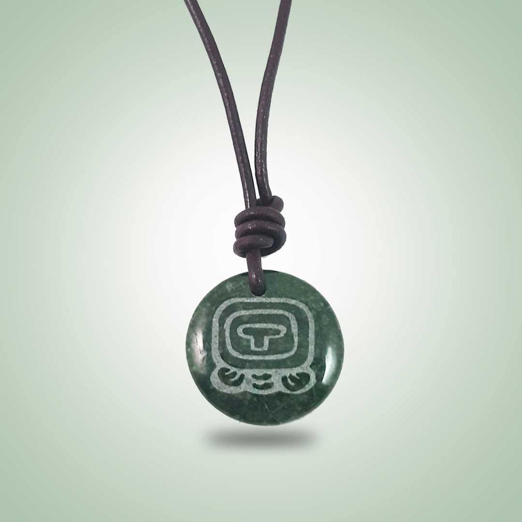 Iq' Leather Necklace (32mm) - Jade Maya