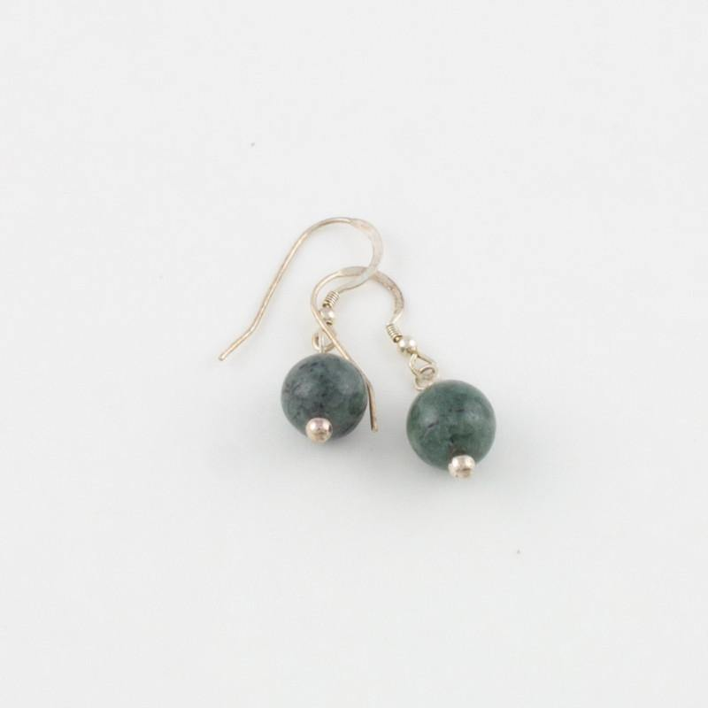 Dark Green Single Bead Earrings