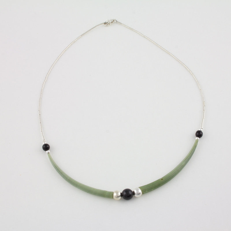 Necklace with dentalium shells and 3 black jade beads with Sterling silver