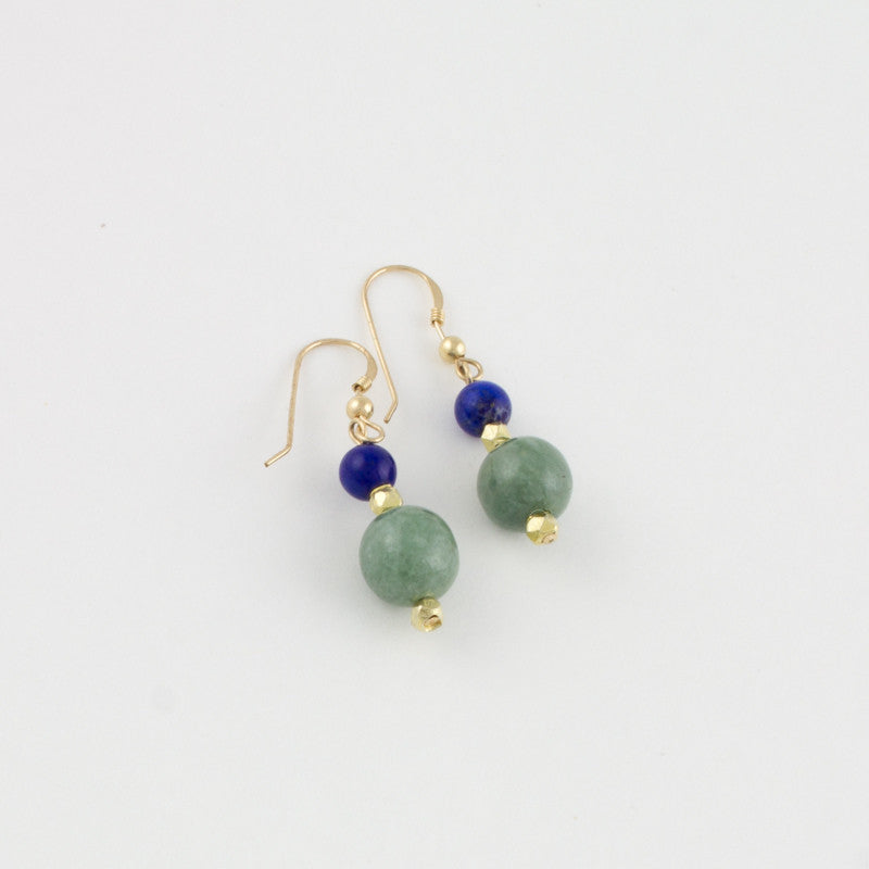Mint Jade & Lapiz Earrings