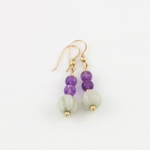 Squash Bead Earrings w/ Amethyst