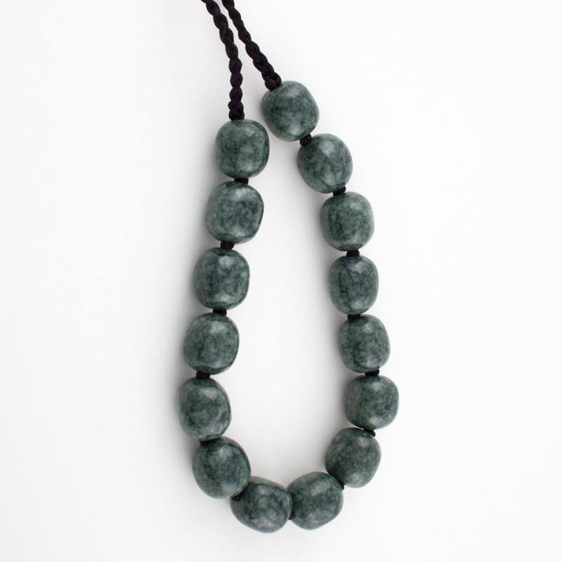15 nugget dark green jade necklace