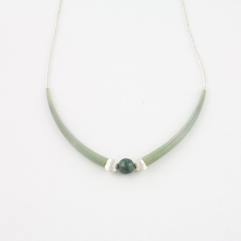 Necklace with dentalium shells and one green jade bead with Sterling silver