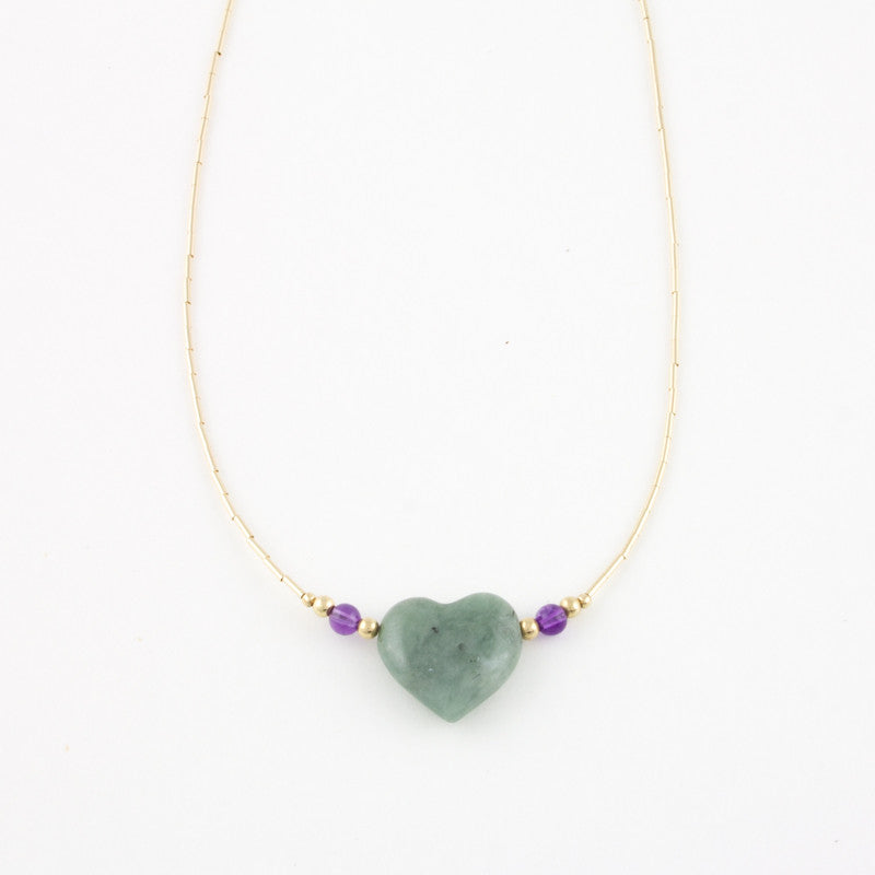 Mint Jade Heart Necklace with Amethyst in Gold