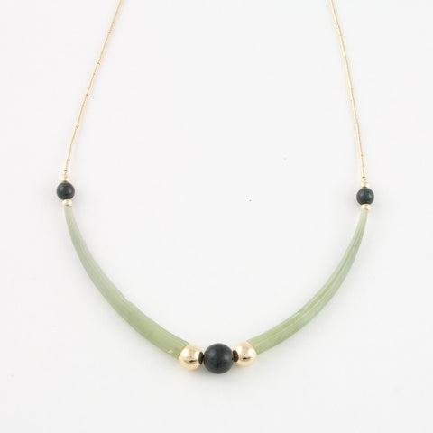 Necklace with dentalium shells and black jade beads with Goldfilled