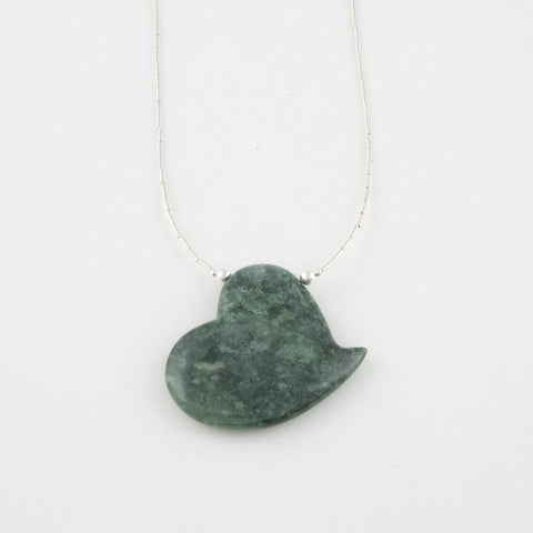 Fancifully heart shaped necklace in mint jade and sterling silver