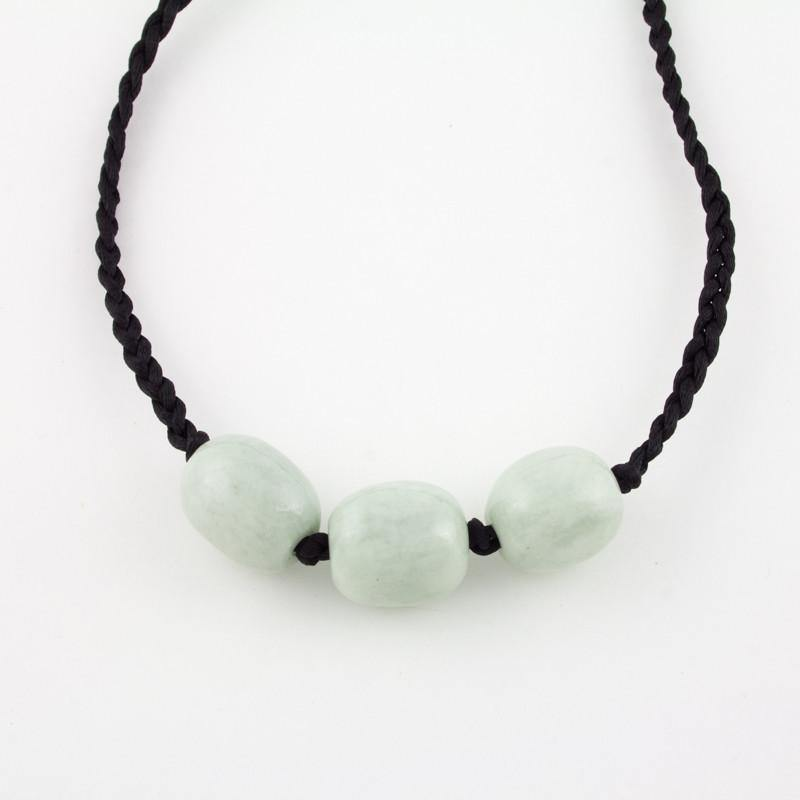 3 nugget white jade necklace