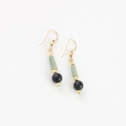 Dentalium shells and black jade earrings with goldfilled