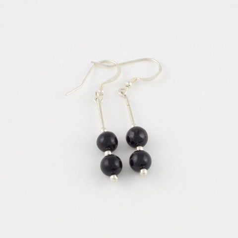 Black Jade Double-Bead Earrings in Sterling Silver
