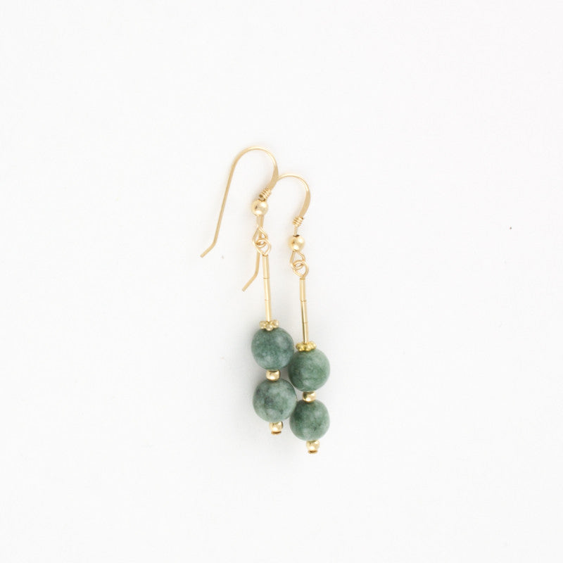 Mint Jade Double-Bead Earrings in Silver