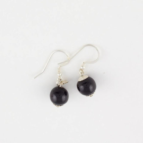 Black Jade Bead Drop Earrings
